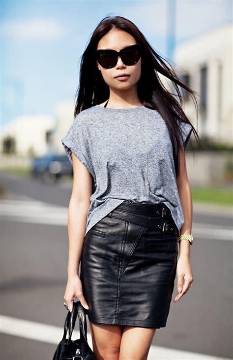 grey top black leather skirt ideas