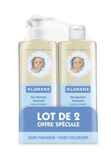 lot de gel klorane bebe gel douceur moussant lot de 2 x 500 ml