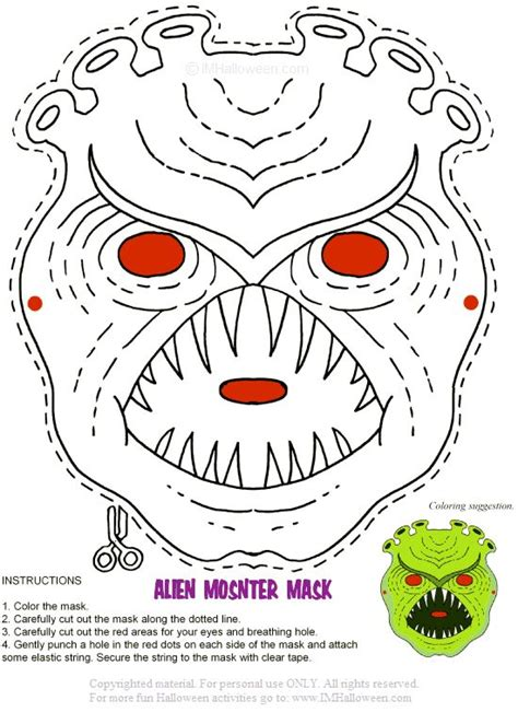 printable monster mask template printable alien monster mask more masks and other