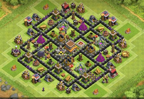 layout coc th8 4 mortar hybrid base th8 coc images