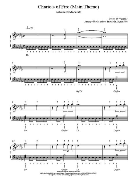 theme song chariots of fire chariots of fire main theme by vangelis piano sheet music