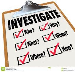 Investigate word on a checklist asking questions who, what, where