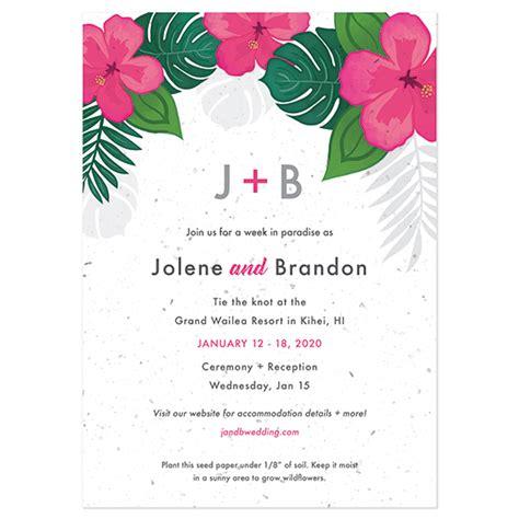 wildflower wedding invitation kits tropical blooms plantable wedding invitation plantable