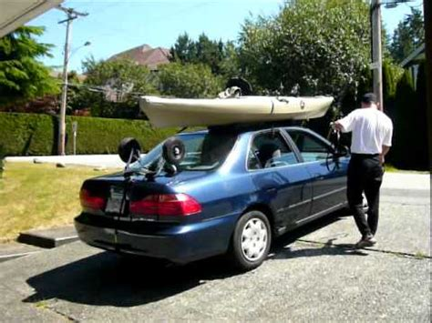 how to load a fishing kayak onto a sedan without a