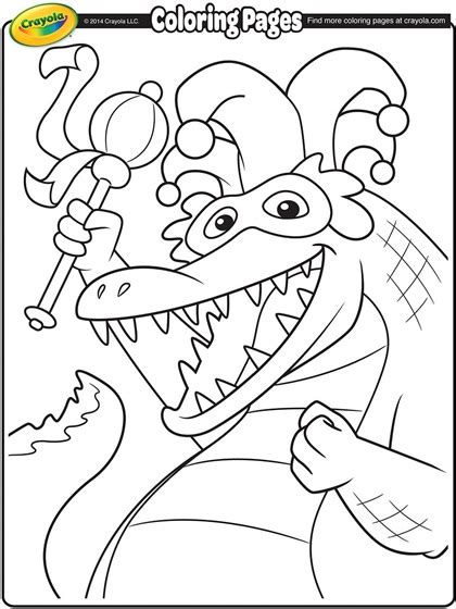 printable mardi gras coloring pages for kids cool2bkids mardi gras alligator coloring page crayola com