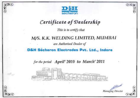 certification letter for dealership k k welding ltd