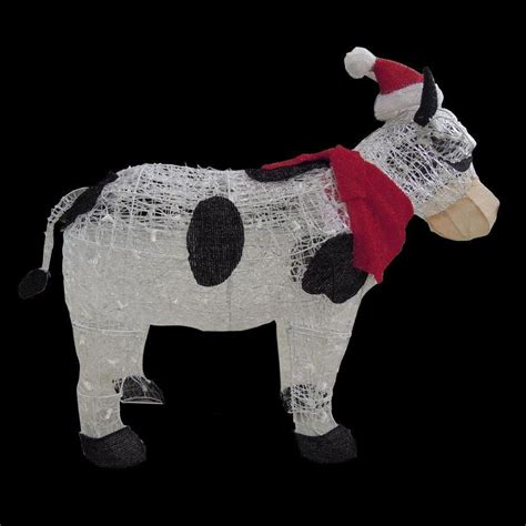 home depot christmas lawn decorations home accents holiday 36 in pre lit cow with santa hat