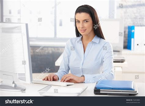 Office Worker At Desk Portrait Happy Office Worker Sitting Desk Stock Photo 76453885