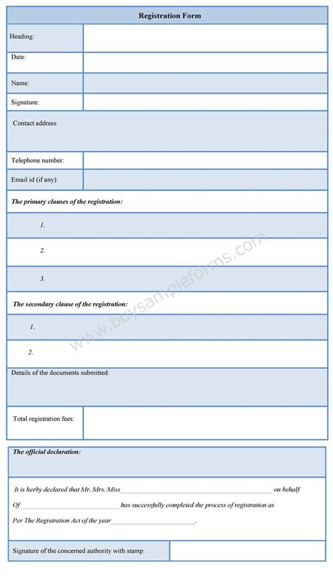 as an form registration form format