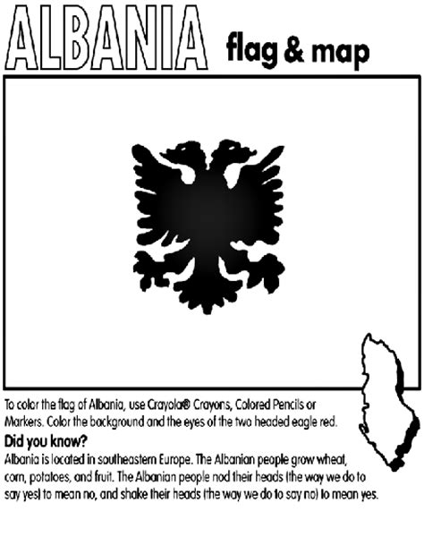 Albania Coloring Page Crayola Com Albanian Flag Coloring Page
