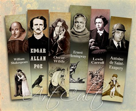 Printable Download Bookmarks Most Famous Writers Digital