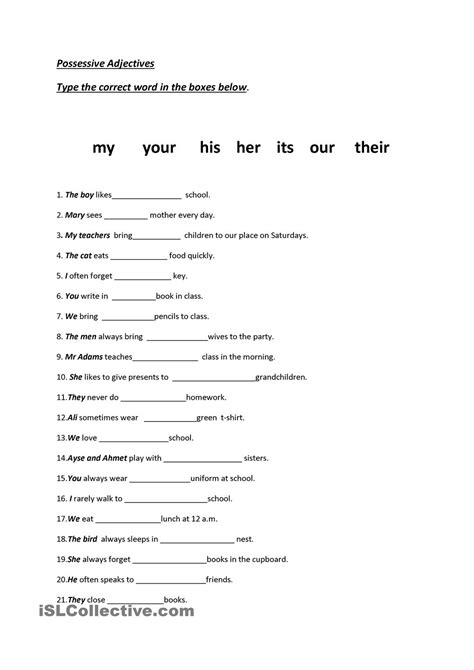 Possessive Adjectives Worksheet by 13 Best Images Of Worksheets Subject Verb In