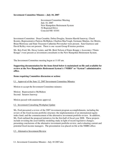 template minutes of meeting sle investment committee minutes template 28 images sle