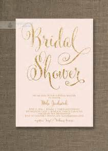 blush pink gold bridal shower invitation glitter pastel