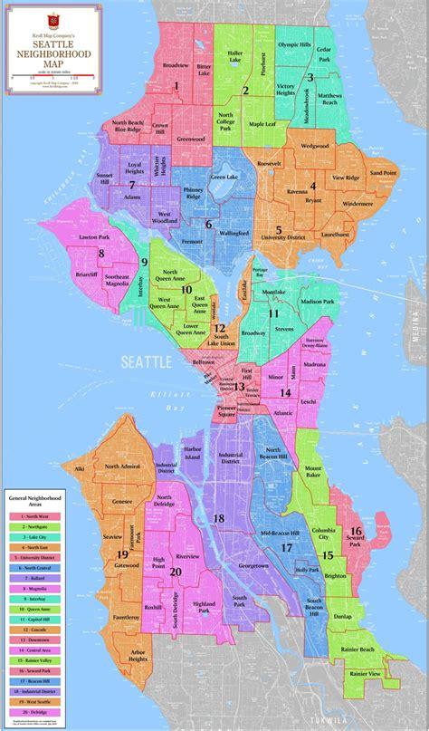 seattle neighborhood map level mapping kroll map company