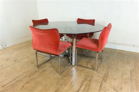 retro chrome table and chairs vintage retro pieff glass and chrome dining table and 6