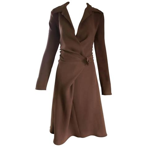 max mara 1990s chocolate brown size 8 90s vintage flattering rayon wrap dress for sale at 1stdibs