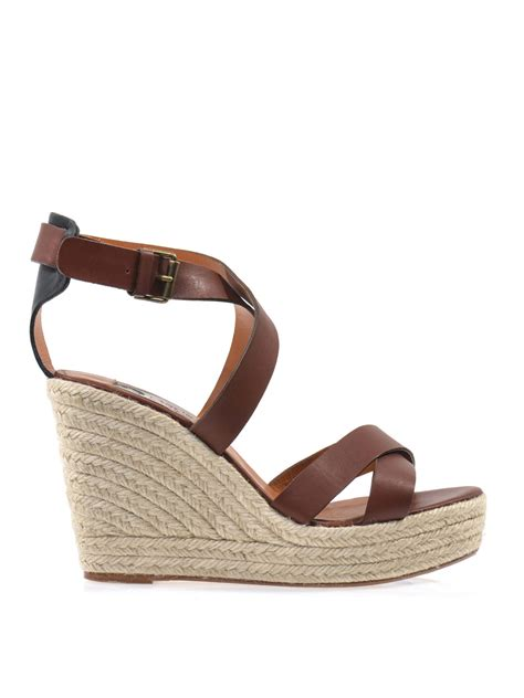 brown sandal wedges lanvin leather wedge sandals in brown lyst