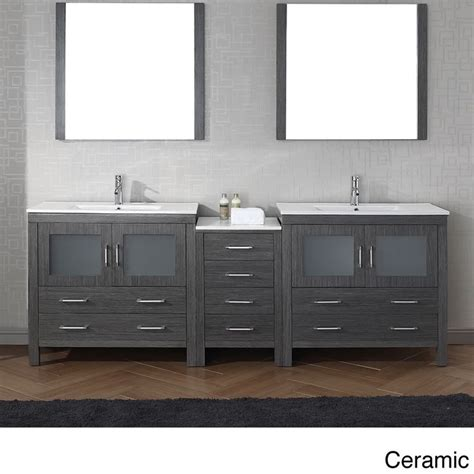 virtu usa dior 90 inch double sink vanity set in zebra grey