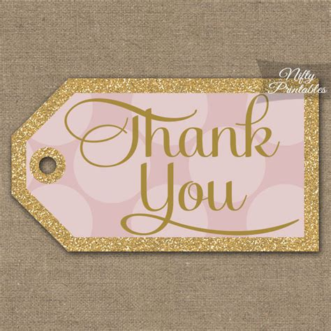 printable bridal shower thank you tags pink gold thank you tags printable gold glitter pink