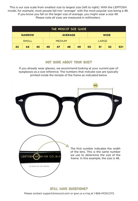 eyewear sizing guide frame features moscot