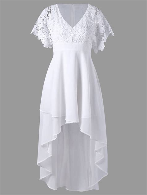 Set Flowy White 3in1 white 2xl lace panel high low flowy dress rosegal