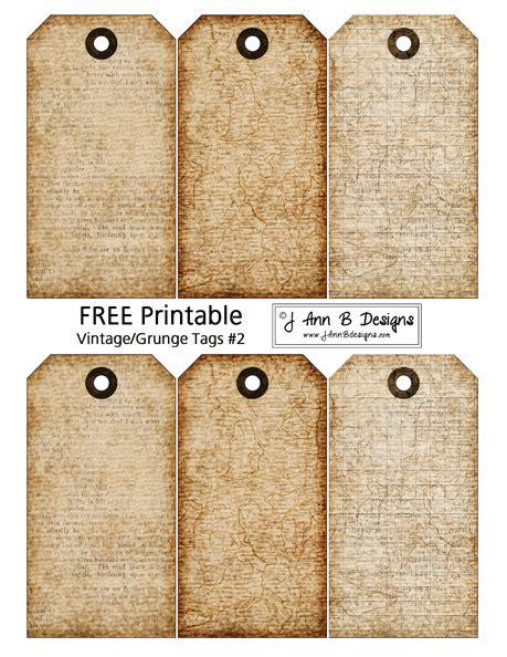 printable tags vintage grunge tags 2 free printable scrapbooking