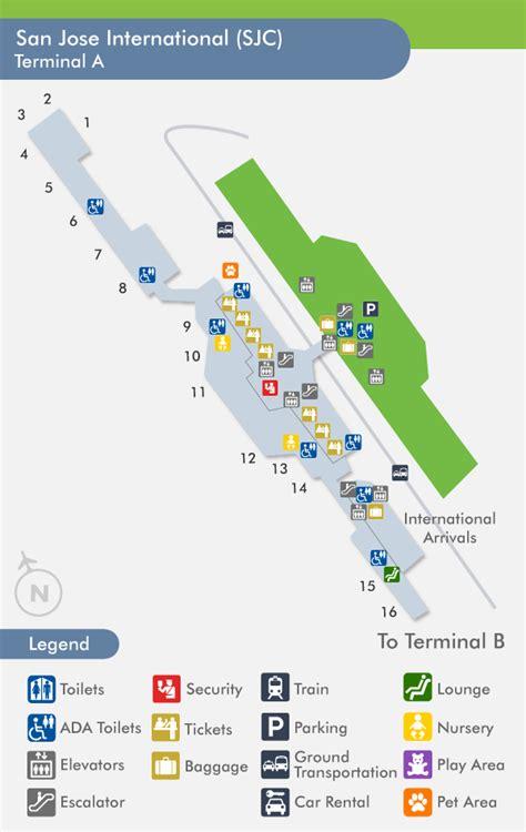 san jose airport map travelnerd terminal a