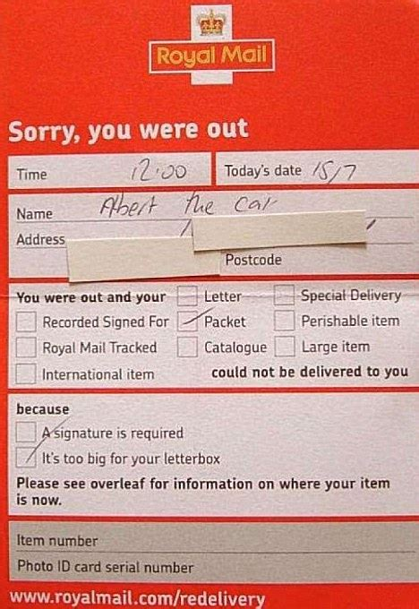 missed delivery card template royal mail to start leaving parcels next door if no one s