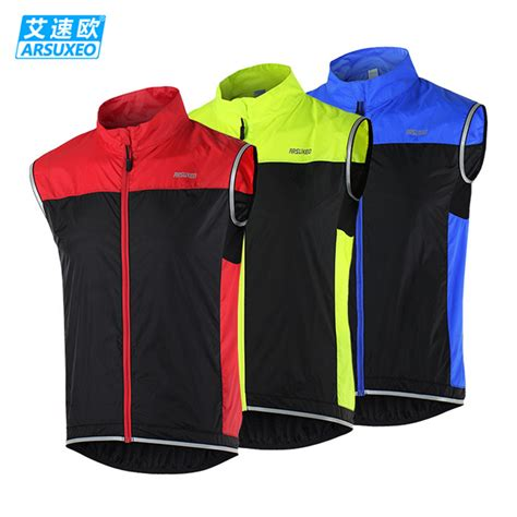 windproof cycling vest 2016 arsuxeo men s cycling reflective vest windproof