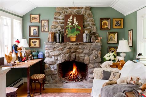 French Country Bookshelves - lennox gas fireplace living room farmhouse with cozy framed art gallery wall low ceiling