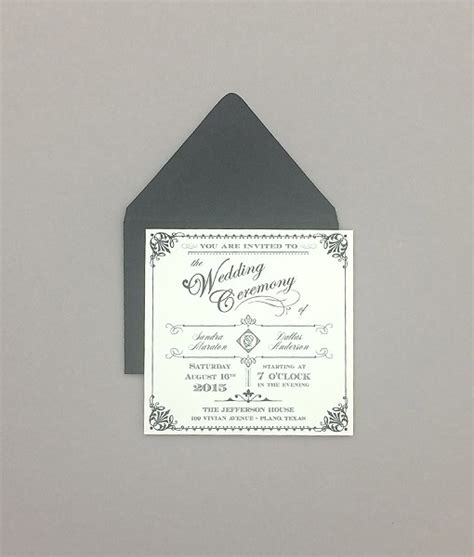 Square Wedding Invitations by Ornate Vintage Type Square Wedding Invitation