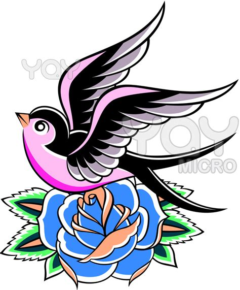 rose swallow tattoo only bird