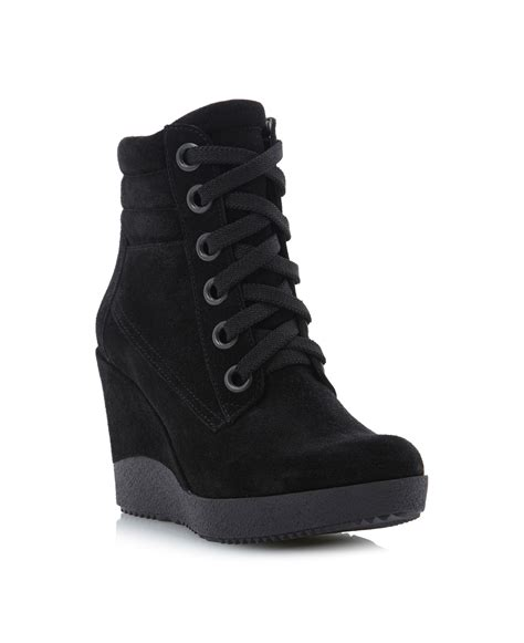 dune plaster high top lace up wedge boots in black black