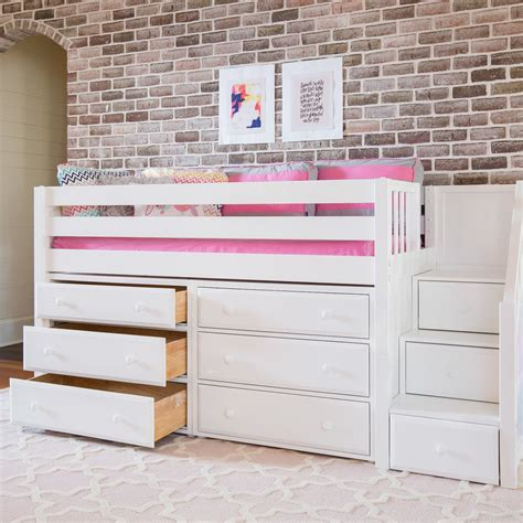 kids loft beds with storage maxtrix kids great3 low loft bed with storage reviews