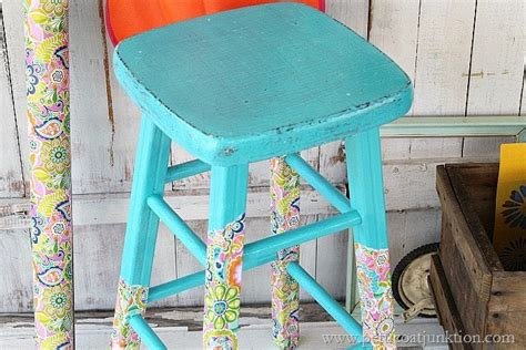 Decoupage Stool - paper stripped not dipped legs decoupage stool