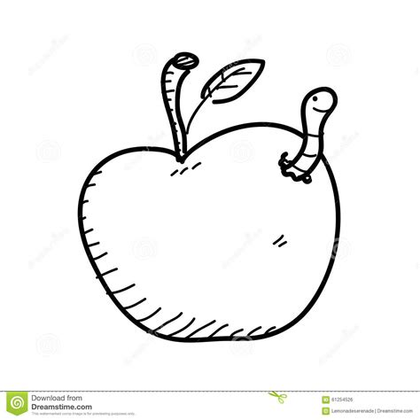 Apple Worm Doodle Stock Vector Image 61254526