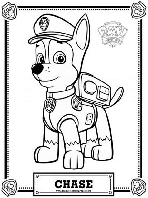 coloring pages of chase from paw patrol paw patrol coloring pages chase realistic coloring pages