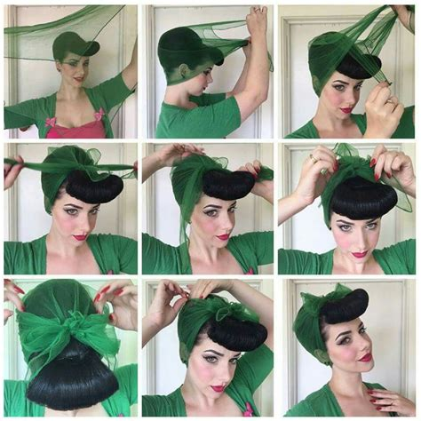 Pin Up Scarf Hairstyles by Chiffon Scarf How To Hair Hair Hair Styles Pin Up Hair
