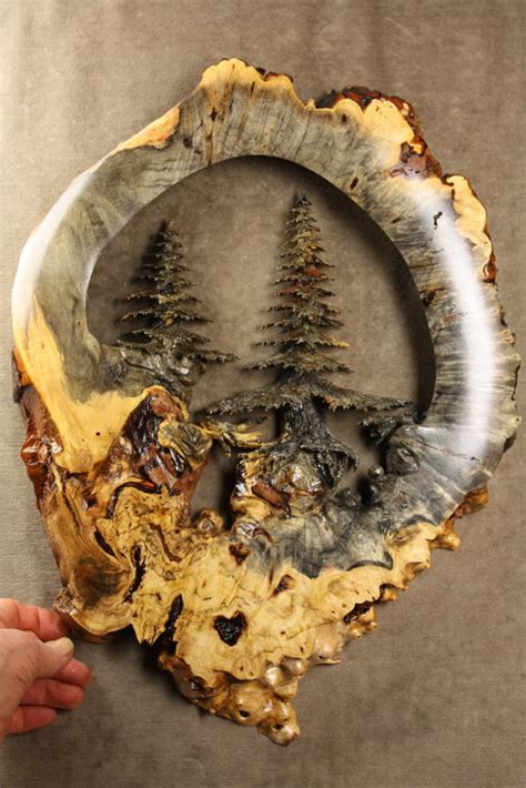 Handmade Wood Carvings - quot forest quot a buckeye burl wood carving carved by gary