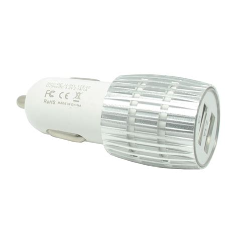 Diskon Murah Dual Usb Car Charger With Led Display 2 1a aluminium dual usb car charger 2a silver