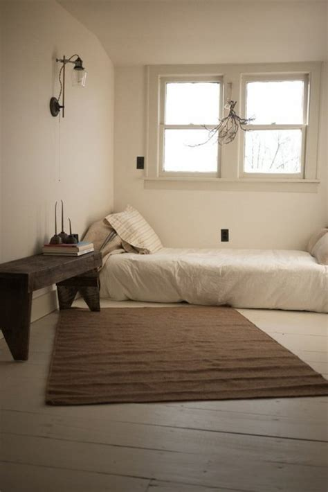 bed on the floor relaxing and serene zen room designs