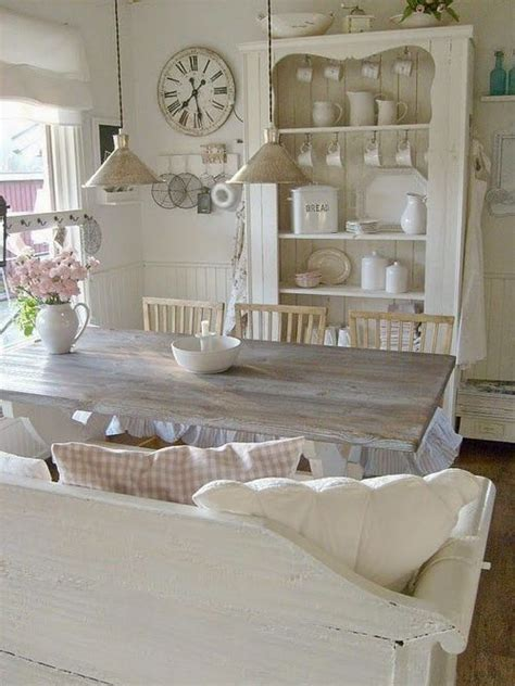 picture of whitewashed shabby chic dining room