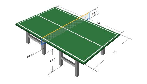 table tennis table diagram with sizes and dimensions