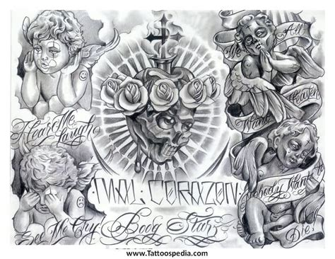 cherub angel tattoos designs grey mexican cherub design statues