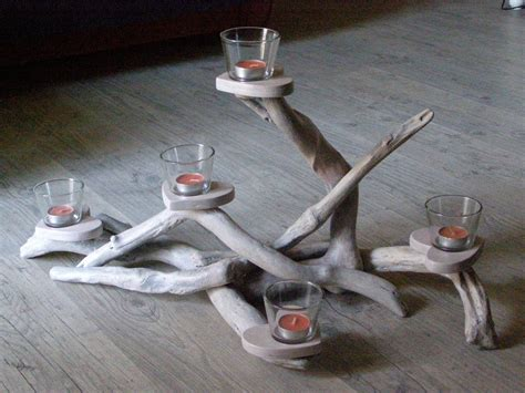 driftwood centerpiece candle holder five positions by