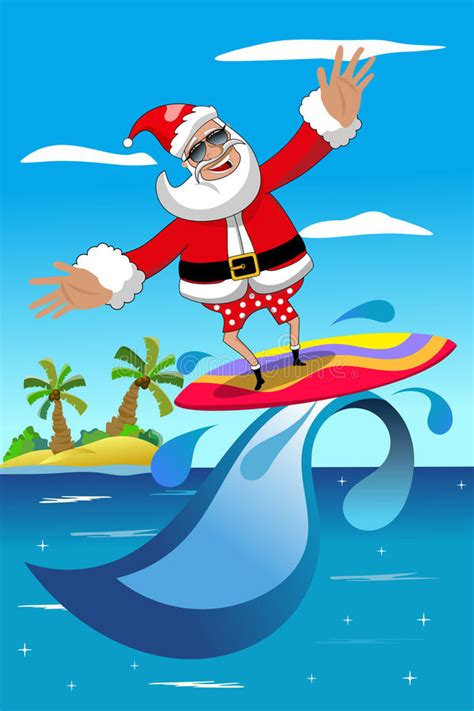 santa on surfboard santa claus surfing tropical sea stock illustration image 46205518