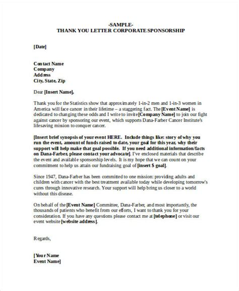 Letter For Corporate Sponsorship 69 Thank You Letter Exles