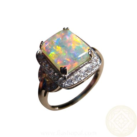 opal and engagement ring rectangle flashopal