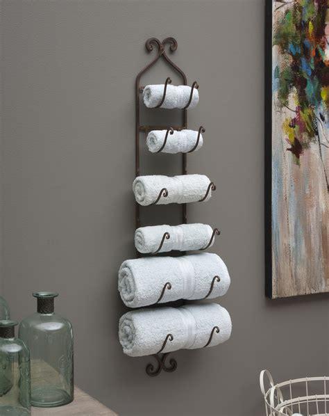 bathroom towel display rustic iron wall rack